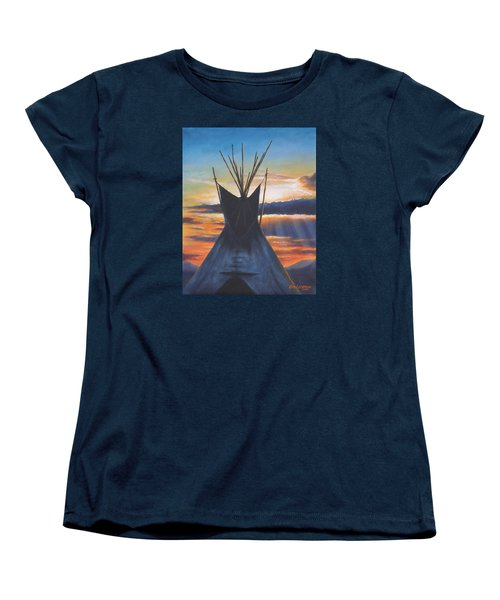 Women's T-Shirt (Standard Cut) featuring the painting Teepee At Sunset Part 1 by Kim Lockman