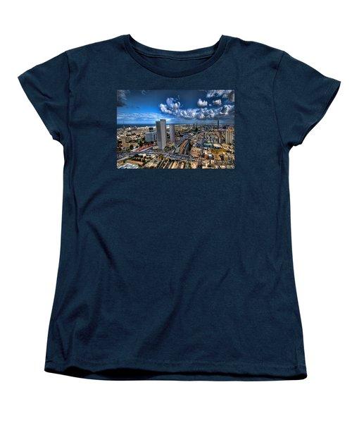 Tel Aviv Center Skyline Women's T-Shirt (Standard Cut) by Ron Shoshani