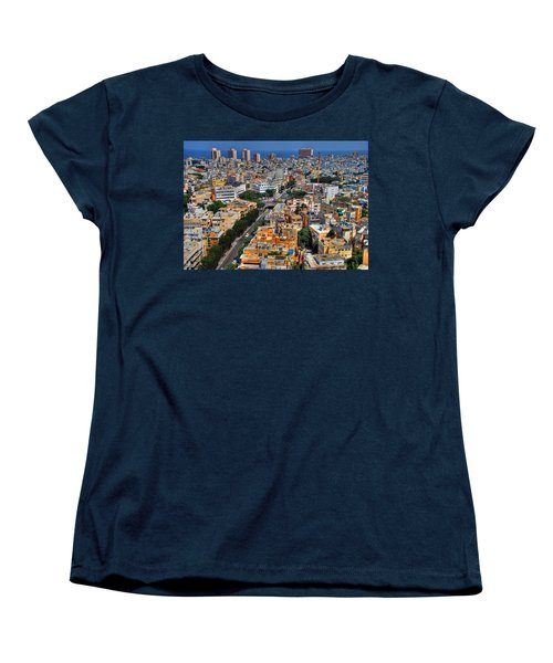 Women's T-Shirt (Standard Cut) featuring the photograph Tel Aviv Eagle Eye View by Ron Shoshani