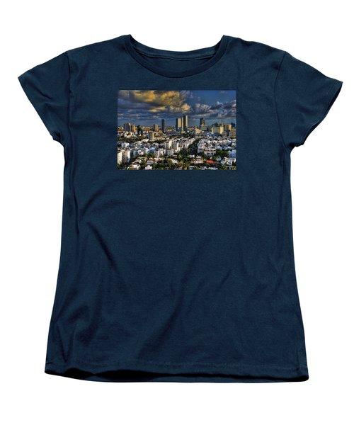 Women's T-Shirt (Standard Cut) featuring the photograph Tel Aviv Skyline Fascination by Ron Shoshani