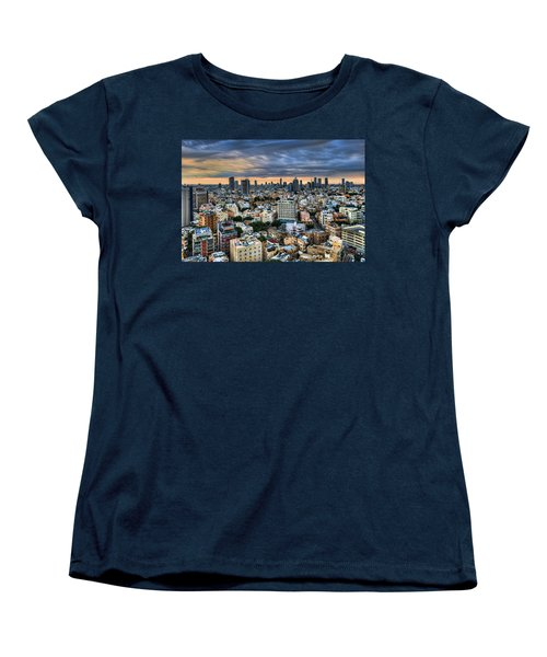 Women's T-Shirt (Standard Cut) featuring the photograph Tel Aviv Skyline Winter Time by Ron Shoshani