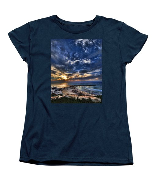 Women's T-Shirt (Standard Cut) featuring the photograph Tel Aviv Sunset At Hilton Beach by Ron Shoshani