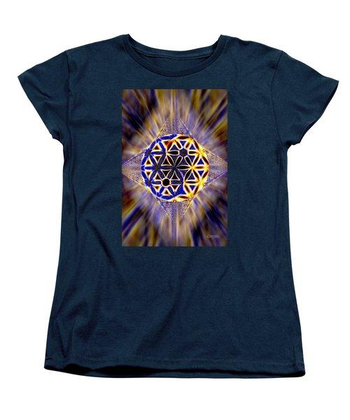 Women's T-Shirt (Standard Cut) featuring the drawing Tetra Balance Crystal by Derek Gedney