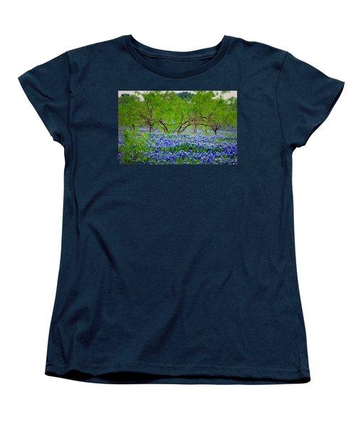 Women's T-Shirt (Standard Cut) featuring the photograph Texas Bluebonnets - Texas Bluebonnet Wildflowers Landscape Flowers by Jon Holiday