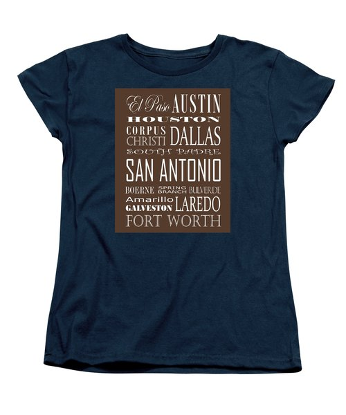 Texas Cities On Brown Women's T-Shirt (Standard Cut) by Debbie Karnes