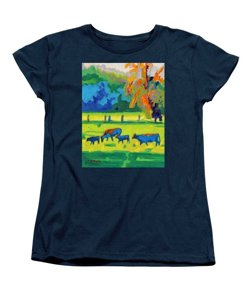 Texas Cows At Sunset Oil Painting Bertram Poole Apr14 Women's T-Shirt (Standard Cut) by Thomas Bertram POOLE