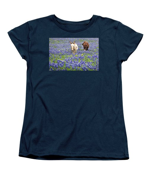 Women's T-Shirt (Standard Cut) featuring the photograph Texas Donkeys And Bluebonnets - Texas Wildflowers Landscape by Jon Holiday