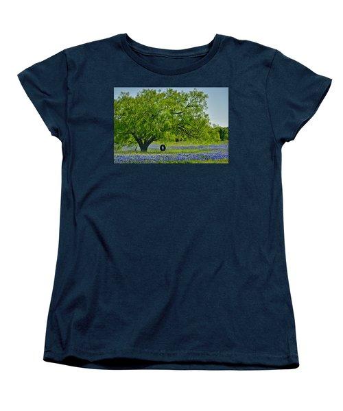 Women's T-Shirt (Standard Cut) featuring the photograph Texas Life - Bluebonnet Wildflowers Landscape Tire Swing by Jon Holiday