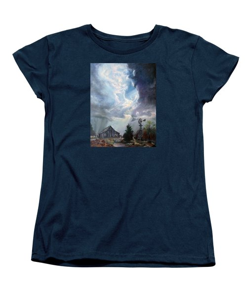 Women's T-Shirt (Standard Cut) featuring the painting Texas Thunderstorm by Karen Kennedy Chatham