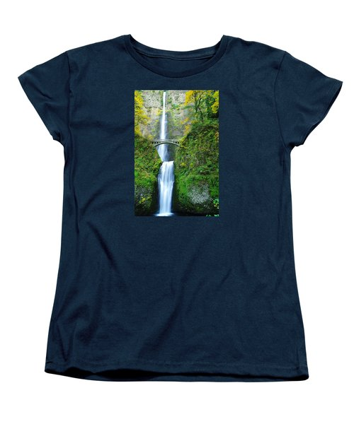 The Beauty Of Multnomah Falls Women's T-Shirt (Standard Cut) by Jeff Swan