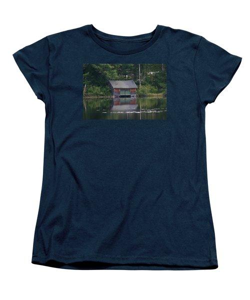 The Boat House On Mt Chocorua Lake Women's T-Shirt (Standard Cut) by Denyse Duhaime