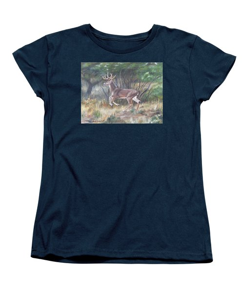 Women's T-Shirt (Standard Cut) featuring the painting The Chase Is On by Lori Brackett