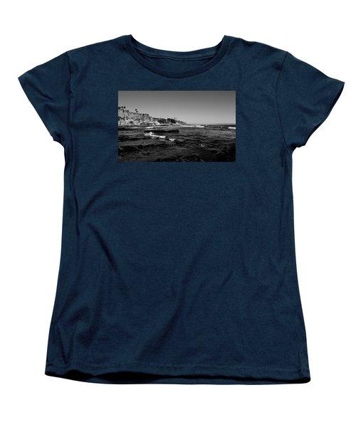 The Cliffs Of Pismo Beach Bw Women's T-Shirt (Standard Cut) by Judy Vincent