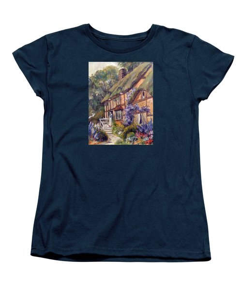 Women's T-Shirt (Standard Cut) featuring the painting The Cottage by Donna Tucker