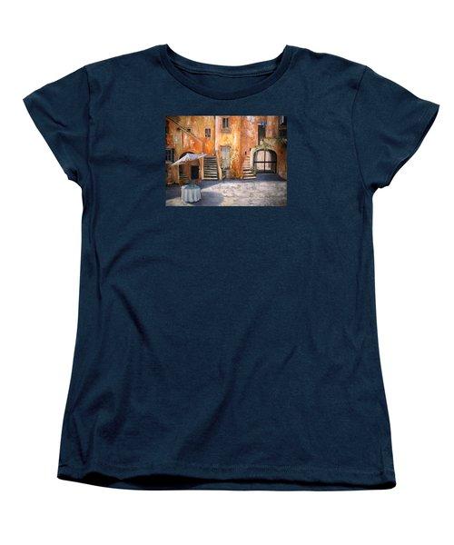 Women's T-Shirt (Standard Cut) featuring the painting The Courtyard by Alan Lakin
