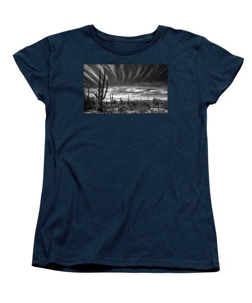 The Desert In Black And White Women's T-Shirt (Standard Cut) by Saija  Lehtonen