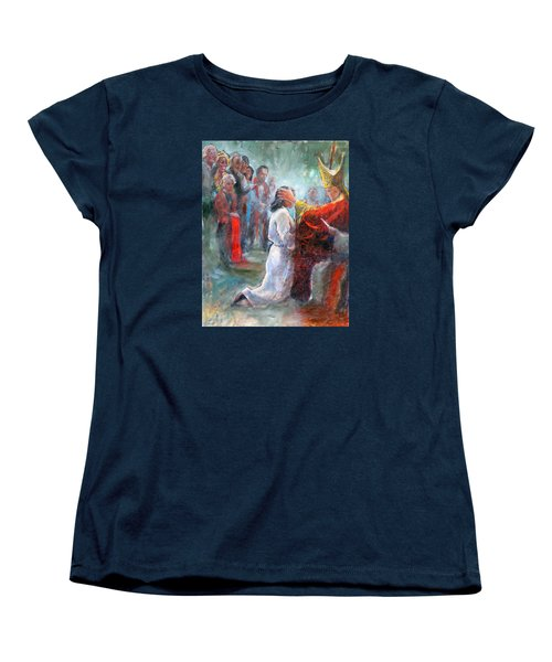 Women's T-Shirt (Standard Cut) featuring the painting The Episcopal Ordination Of Sierra Wilkinson by Gertrude Palmer