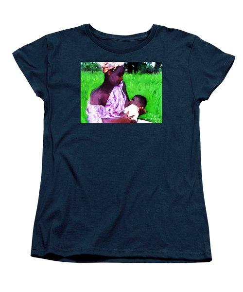 Women's T-Shirt (Standard Cut) featuring the painting The Feeding 2 by Vannetta Ferguson