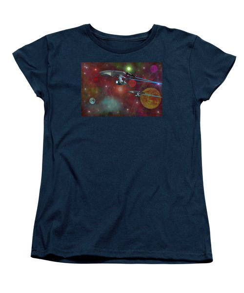 Women's T-Shirt (Standard Cut) featuring the digital art The Final Frontier by Michael Rucker