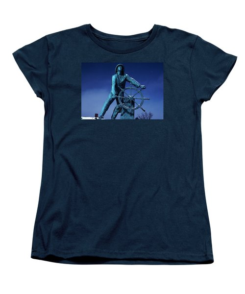 Women's T-Shirt (Standard Cut) featuring the photograph The Fisherman Statue Gloucester by Tom Wurl
