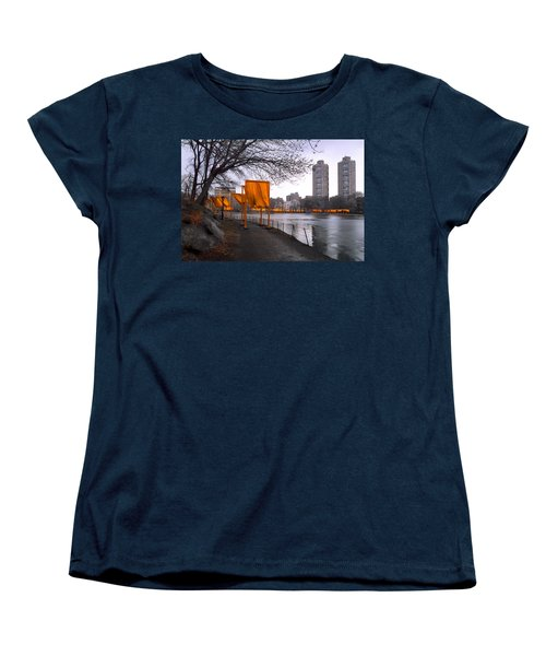 Women's T-Shirt (Standard Cut) featuring the photograph The Gates - Central Park New York - Harlem Meer by Gary Heller