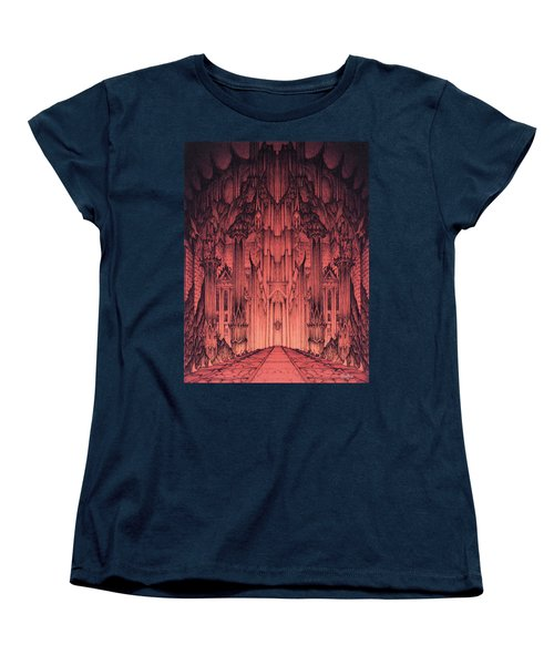 Women's T-Shirt (Standard Cut) featuring the mixed media The Gates Of Barad Dur by Curtiss Shaffer