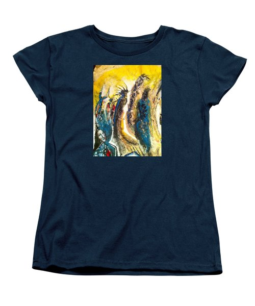 Women's T-Shirt (Standard Cut) featuring the painting The Gathering by Kicking Bear  Productions