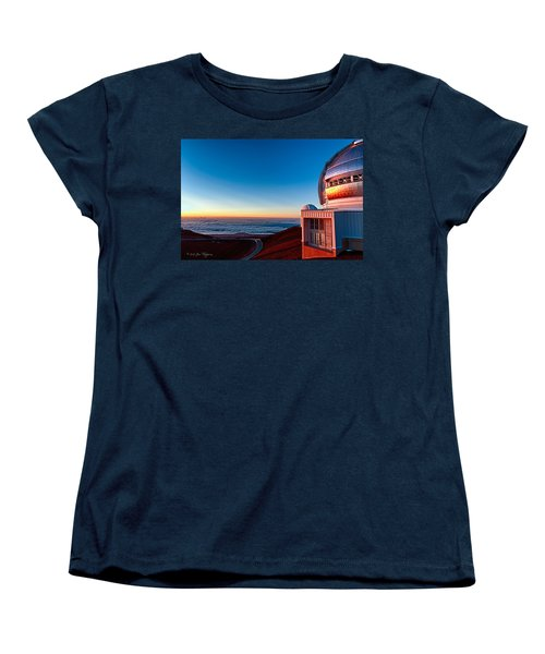 Women's T-Shirt (Standard Cut) featuring the photograph The Glow Of The Warm Sunset Reflecting Off Of The Gemini 8.1m Op by Jim Thompson