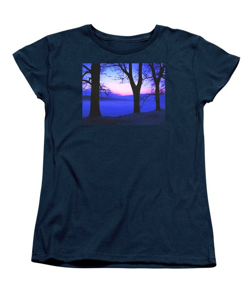 Women's T-Shirt (Standard Cut) featuring the painting The Hush At First Light by Sophia Schmierer