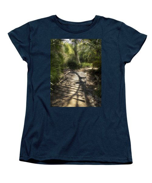 Women's T-Shirt (Standard Cut) featuring the photograph The Journey Along The Path Comes With Light And Shadows by Lucinda Walter