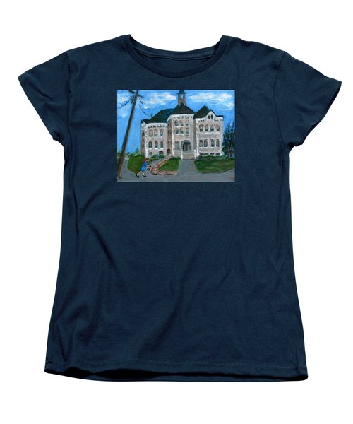 Women's T-Shirt (Standard Cut) featuring the painting The Last Bell At West Hill School by Betty Pieper