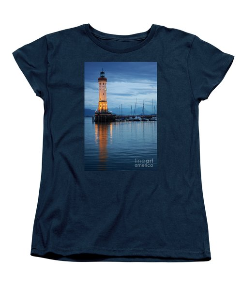 The Lighthouse Of Lindau By Night Women's T-Shirt (Standard Cut) by Nick  Biemans
