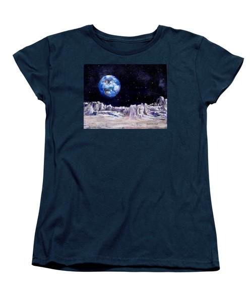 Women's T-Shirt (Standard Cut) featuring the painting The Moon Rocks by Jack Skinner