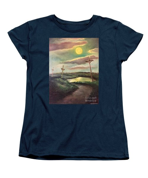 Women's T-Shirt (Standard Cut) featuring the painting The Moon With Three Crosses by Randol Burns