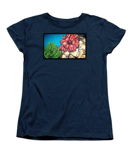 Women's T-Shirt (Standard Cut) featuring the painting The Odd Couple Two Very Different Sea Anemones Cohabitat by Kimberlee Baxter