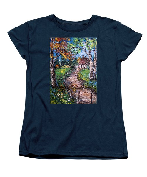 Women's T-Shirt (Standard Cut) featuring the painting The Old Homestead by Megan Walsh