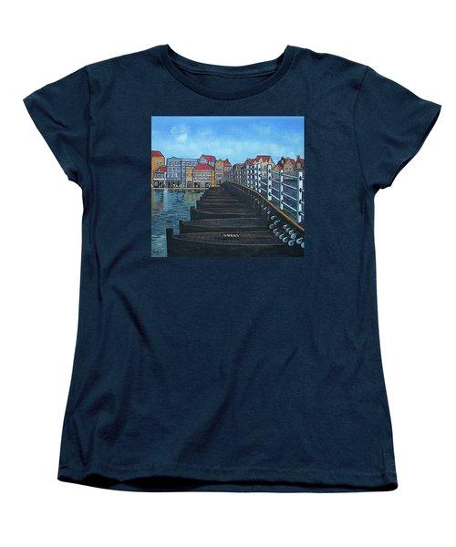 The Old Queen Emma Bridge In Curacao Women's T-Shirt (Standard Cut) by Frank Hunter