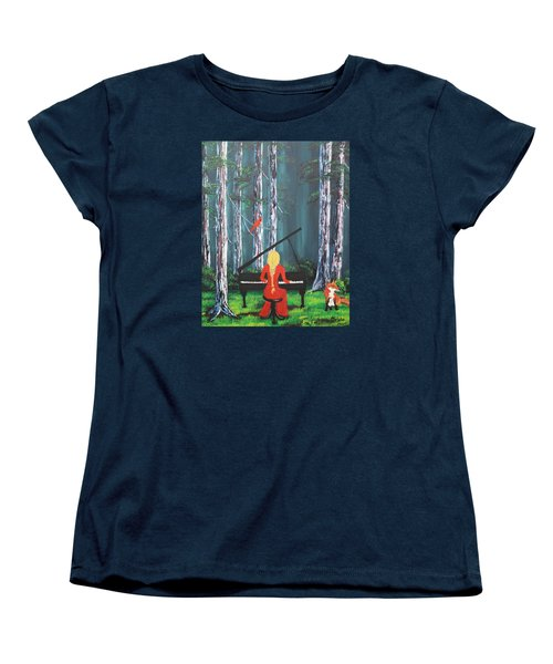 The Pianist In The Woods Women's T-Shirt (Standard Cut) by Patricia Olson