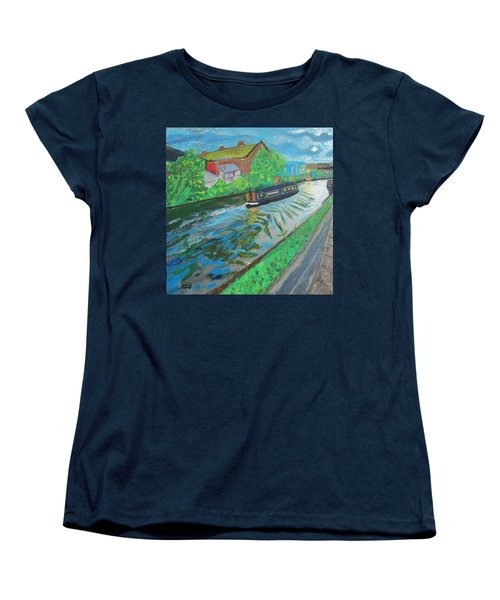 Women's T-Shirt (Standard Cut) featuring the painting The Pickle - Grand Union Canal by Mudiama Kammoh