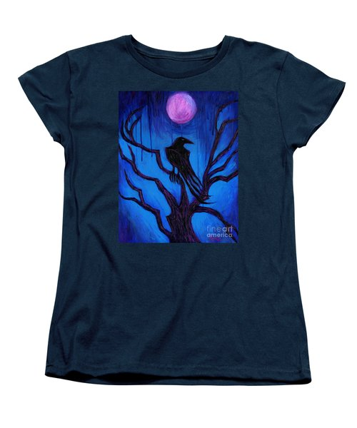 Women's T-Shirt (Standard Cut) featuring the painting The Raven Nevermore by Roz Abellera Art