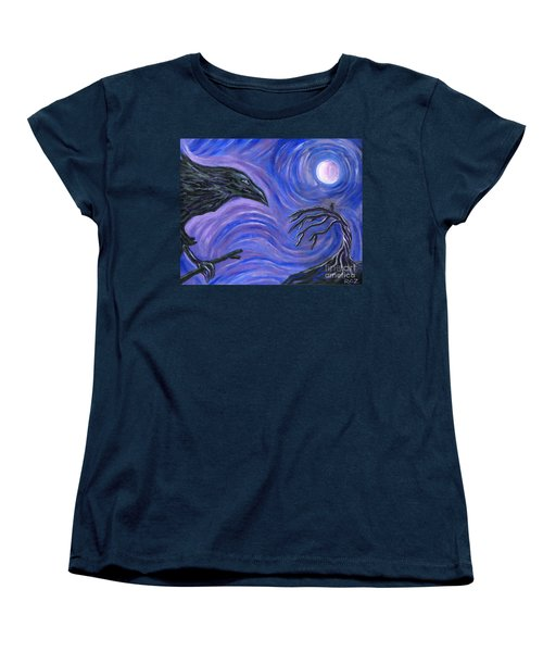 Women's T-Shirt (Standard Cut) featuring the painting The Raven by Roz Abellera Art
