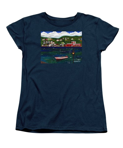 Women's T-Shirt (Standard Cut) featuring the painting The Red And White Fishing Boat Carenage Grenada by Laura Forde