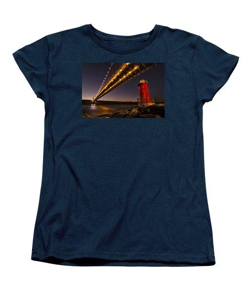 The Red Little Lighthouse Women's T-Shirt (Standard Cut) by Eduard Moldoveanu