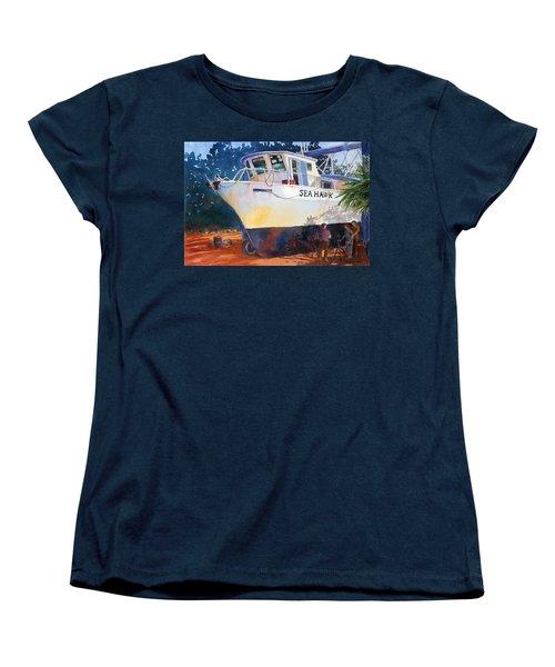 The Sea Hawk In Drydock Women's T-Shirt (Standard Cut) by Roger Rockefeller