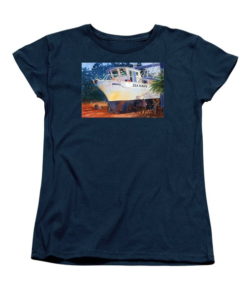 Women's T-Shirt (Standard Cut) featuring the painting The Sea Hawk In Drydock by Roger Rockefeller