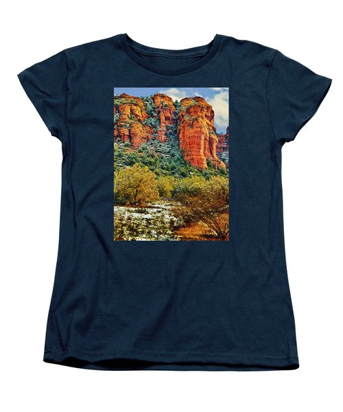 Women's T-Shirt (Standard Cut) featuring the photograph The Secret Mountain Wilderness In Sedona Back Country by Bob and Nadine Johnston