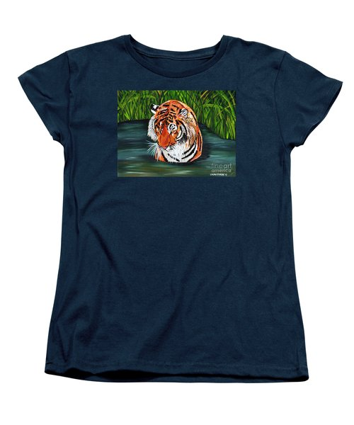 Women's T-Shirt (Standard Cut) featuring the painting The Stare by Laura Forde
