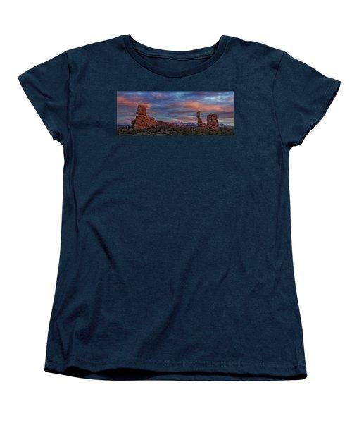 Women's T-Shirt (Standard Cut) featuring the photograph The Sun Sets At Balanced Rock by Roman Kurywczak