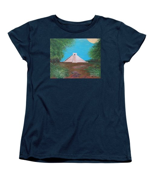 Women's T-Shirt (Standard Cut) featuring the painting The Temple Of Kukulcan by Alys Caviness-Gober