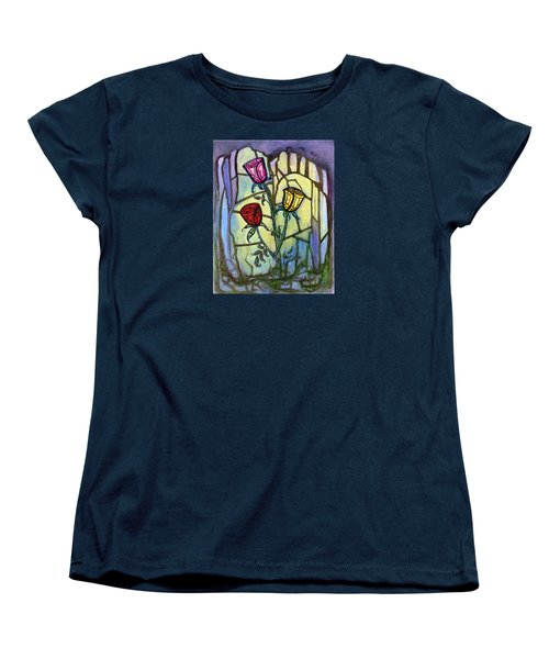 Women's T-Shirt (Standard Cut) featuring the painting The Three Roses by Terry Webb Harshman